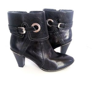 Soffe Black Leather fold over comfort ankle boot